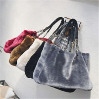 New Fashion Women Faux Fur Handbag Large Shoulder Bag Plush Lady Tote Tote Purse