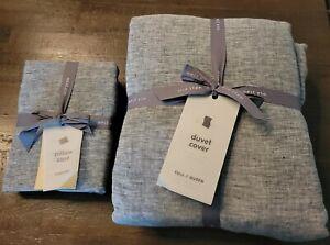 West Elm Belgian Flax Linen Full/Queen Duvet Cover & Pillowcases - Brand New