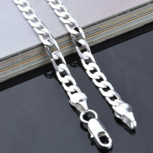 20''  Mens Boys Curb Chain Stainless Steel Silver Cuban Necklace Men Gift