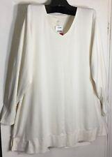 Brand New J Jill women Plus size 3x off white Pima cotton V neck Knit top Tunic