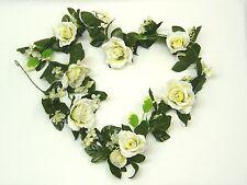 Artificial Silk Flowers Cream Rose Hydrangea Ficus Fern Pearl Wedding Garland