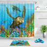 Tropical Coral Reef Turtle Bathroom Waterproof Fabric Shower Curtain Set Hooks