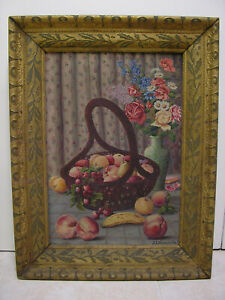 Antique Oil Painting Folk Art Still Life Fruit Flowers Cherry Banana Peach Pear