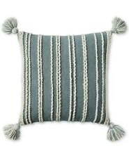 "Lucky Brand 22"" Square Decorative Pillow Chain Stitch Tassel Stripe RINSE A9Z328"