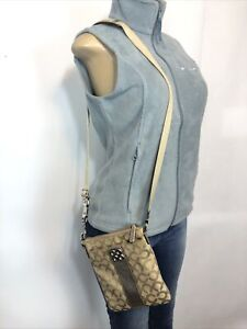 Tan Silver Preowned coach Leather Casual Adjustable crossbody Bag Basic Purses