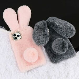 Bunny Rabbit Warm Winter Fluffy Fur Plush Diamond Soft Case Cover For Phone