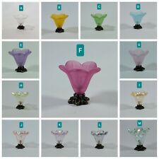 """Dollhouse Miniature """"Frosted/Carnival Glass"""" Flower Bouquet Vase 1:24 1:12 scale"""