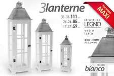 SET 3 LANTERNE STRUTTURA IN LEGNO BIANCO VETRO E LATTA KMK-738890