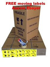 20 X 100L MOVING BOXES + PACKING MATERIALS CARDBOARD REMOVALIST PACKAGE DEAL!