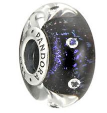 Authentic Pandora Midnight Effervescence Murano Glass Charm 791627CZ Silver