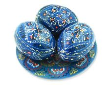 3 Turquoise Color Ukrainian Wooden Easter Eggs Pysanky on Hand Painted Plate