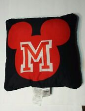 "Disney  Mickey Mouse ""M"" Decorative Pillow 16"" x 16""  Red/Black"
