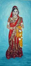 original oil painting:varsha in hindu wedding costume