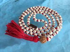 108 Hare Rama Hare Krishna Engraved Mala Beads Necklace, Tulsi Mala, Holy Basil