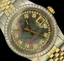 Rolex Mens Datejust Date Oyster Solid Gold Steel Diamond Pearl Dial Bezel Watch
