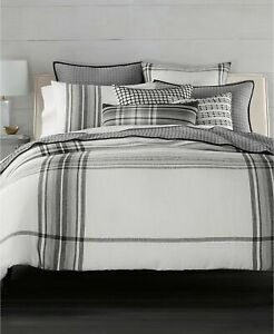 New Hotel Collection Linen Plaid Full Queen Duvet Cover