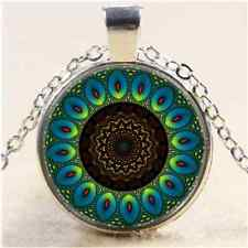 Peacock Feather Kaleidoscope Cabochon Glass Tibet Silver Chain Necklace