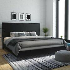 King Bedframe Upholstered Faux Leather Headboard Platform Bedroom Furniture New