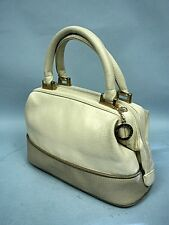 Michael Stevens Ivory and Tan Faux Leather Satchel