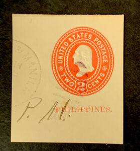 R6/31 US Philippines Stamp BOB Cut Square 1899 U8 2c UNHNG Great Fresh Coll