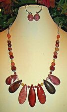 7PC, MOOKAITE STONES HANDMADE NECKLACE with GEMSTONES + EARRINGS