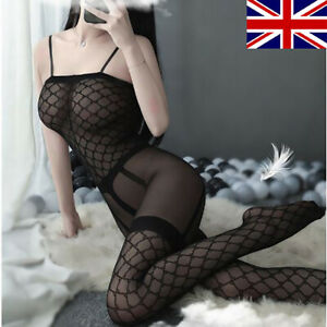 Black Lace Mesh Sexy Womans  Full Body Stocking Stockings Suspenders Lingerie UK