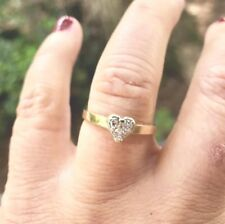Vintage Estate Cluster Diamond Heart 10k Yellow Gold Band Ring Size 7