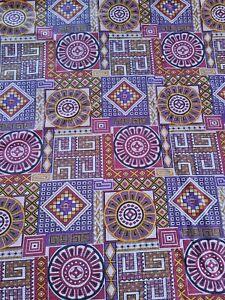 Vintage 1970s Brushed Cotton Canvas Fabric Purple Gold  Geometric Print 3 Yds