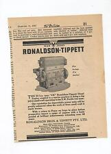 Ronaldson Tippett CK Engine Advertisement removed from 1945 Newspaper
