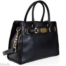 NWT! MICHAEL KORS HAMILTON BLACK LEATHER GOLD CHAIN SATCHEL TOTE PURSE BAG $368!