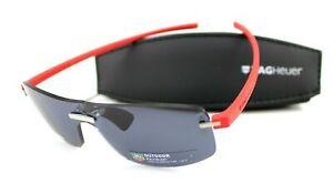 RARE TAG Heuer REFLEX Palladium Red Grey Rimless Outdoor Sunglasses TH 3591 102