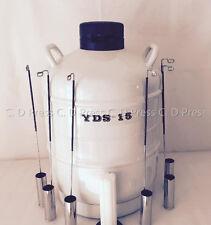 New 15L Liquid Nitrogen Tank Cryogenic Container LN2 Dewar+6Pcs Pails+Lock Cover