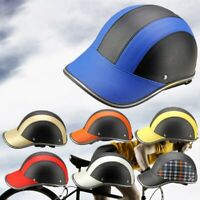 New Motorcycle Bike Safety Half Helmet Baseball Cap Windproof Leather Hard Hat