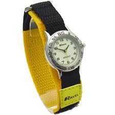Ravel Kids Easy-Read Nite-Glo Watch Hook & Loop Strap Yellow/Black 1708.9