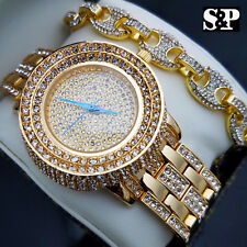 MENS HIP HOP GOLD PT LUXURY WATCH & FULL ICED GUCCI CHAIN BRACELET COMBO SET