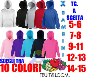 FELPA CON CAPPUCCIO da BAMBINO Neutra FRUIT OF THE LOOM Tascone BIMBI Colorata