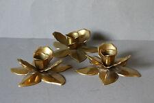 3 figürliche Kerzenhalter Kerzenständer Tischleuchter Messing Blume