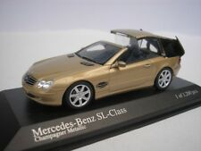 Mercedes Benz SL Class 2001 Gold Metallic with Movable Roof 1/43 MINICHAMPS NEW