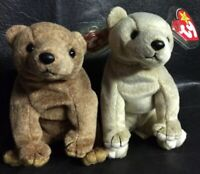 Beanie Babies Bears Pecan & Almond 1999 Retired Tag Protected Never Displayed