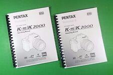 LASER PRINTED Ricoh Pentax K-m K-2000  Km K2000 Camera 280 Page Owners Manual