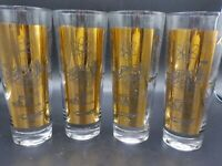 4 Vtg Mid Century Blk & Gold Oil Rig Company Tall Drink Glass Set Kerr McGee Gas