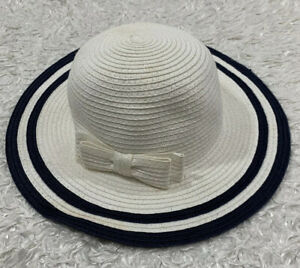 JANIE & JACK White Faux Straw Sun Hat With Navy Blue Trim Fixed Bow 12-24 Months