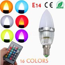 E14 RGB 3W LED cambia lampadina lampada con telecomando senza fili Candela Flame