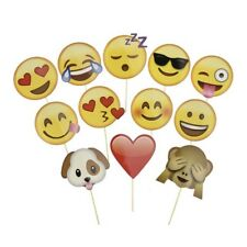 12 PCS emoji Photo Booth Prop Mask On A Stick Birthday Party Baby Shower Decor
