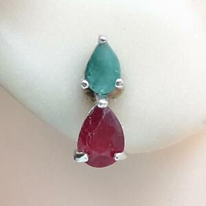 .75ctw Mozambique Ruby & Colombian Emerald Pear Cut 925 Silver Stud Earrings