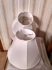 1 Pair Wide Bottom White Fabric Lampshades Table or Floor Lamp EUC