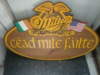 VINTAGE MILLER BEER SIGN IRISH AMERICAN C'EAD MILE F'AILTE 100,000 WELCOMES WOOD
