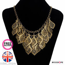 NEW GOLD LEAF STATEMENT NECKLACE BIB WOMENS TEAR LADIES PENDANTS ETHNIC VINTAGE