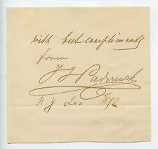Ignacy Jan Paderewski Signed Polish Classical Composer Autographed 1892 New York