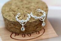 silver Women Ear Cuff Wrap Rhinestone crystal Clip On Earring Jewelry one